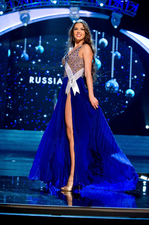 Description of . Miss Russia 2012 Elizabeth Golovanova competes in an evening gown of her choice during the Evening Gown Competition of the 2012 Miss Universe Presentation Show in Las Vegas, Nevada, December 13, 2012. The Miss Universe 2012 pageant will be held on December 19 at the Planet Hollywood Resort and Casino in Las Vegas. REUTERS/Darren Decker/Miss Universe Organization L.P/Handout