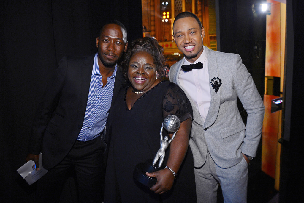 Description of . LOS ANGELES, CA - FEBRUARY 01:  (L-R) Actors Lamorne Morris, Cassi Davis and Terrance Jenkins attend the 44th NAACP Image Awards at The Shrine Auditorium on February 1, 2013 in Los Angeles, California.  (Photo by Mark Davis/Getty Images for NAACP Image Awards)