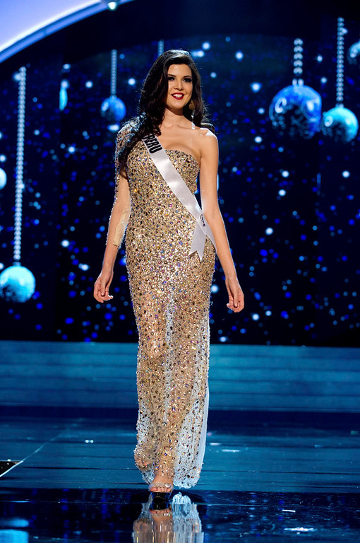 Description of . Miss Peru 2012 Nicole Faveron competes in an evening gown of her choice during the Evening Gown Competition of the 2012 Miss Universe Presentation Show in Las Vegas, Nevada, December 13, 2012. The Miss Universe 2012 pageant will be held on December 19 at the Planet Hollywood Resort and Casino in Las Vegas. REUTERS/Darren Decker/Miss Universe Organization L.P/Handout
