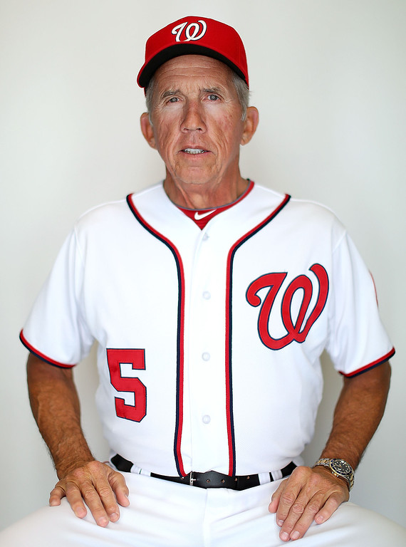 Description of . VIERA, FL - FEBRUARY 20:  Manager Davey Johnson #5 of the Washington Nationals poses for a portrait during photo day at Space Coast Stadium on February 20, 2013 in Viera, Florida.  (Photo by Mike Ehrmann/Getty Images)
