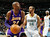 Los Angeles Lakers guard Kobe Bryant, left, looks for a shot as Denver Nuggets guard Andre Miller covers in the first quarter of an NBA basketball game in Denver on Monday, Feb. 25, 2013. (AP Photo/David Zalubowski)