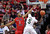 Fresno State's Jerry Brown (0) attempts to block a shot from Colorado State's Jonathan Octeus (5) during the first half of a Mountain West Conference tournament NCAA college basketball game, Wednesday, March 13, 2013, in Las Vegas. (AP Photo/Isaac Brekken)