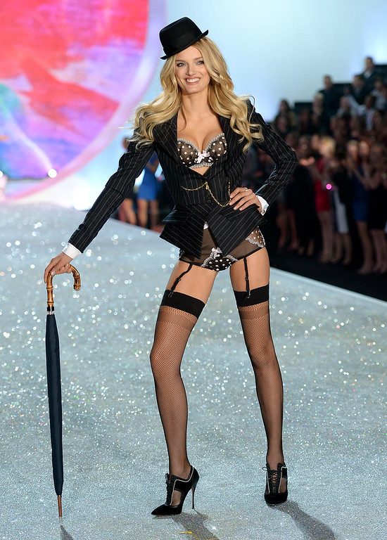 Description of . Model Lily Donaldson walks the runway at the 2013 Victoria's Secret Fashion Show at Lexington Avenue Armory on November 13, 2013 in New York City.  (Photo by Dimitrios Kambouris/Getty Images for Victoria's Secret)
