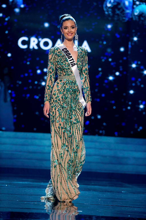 Description of . Miss Croatia 2012 Elizabeta Burg competes in an evening gown of her choice during the Evening Gown Competition of the 2012 Miss Universe Presentation Show in Las Vegas, Nevada, December 13, 2012. The Miss Universe 2012 pageant will be held on December 19 at the Planet Hollywood Resort and Casino in Las Vegas. REUTERS/Darren Decker/Miss Universe Organization L.P/Handout