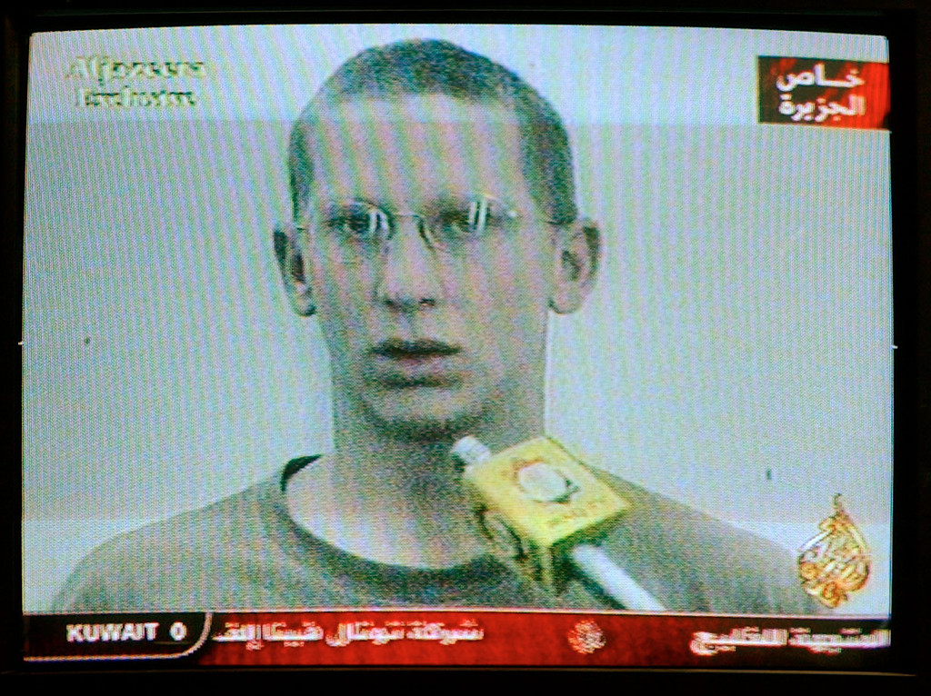 Description of . Images broadcast on Qatar\'s Al Jazeera tv show captured U.S. soldier Private First Class Patrick Miller, 23, from Kansas, following an attack March 23, 2003 in Nassiriya, Iraq. Al Jazeera broadcast images of dead and captured soldiers. (Photo by Carlo Allegri/Getty Images)