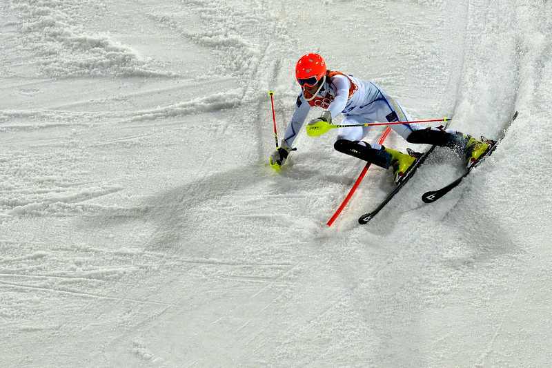 Description of . Sweden's Emelie Wikstroem competes during the Women's Alpine Skiing Slalom Run 2 at the Rosa Khutor Alpine Center during the Sochi Winter Olympics on February 21, 2014. AFP PHOTO / DIMITAR DILKOFF/AFP/Getty Images