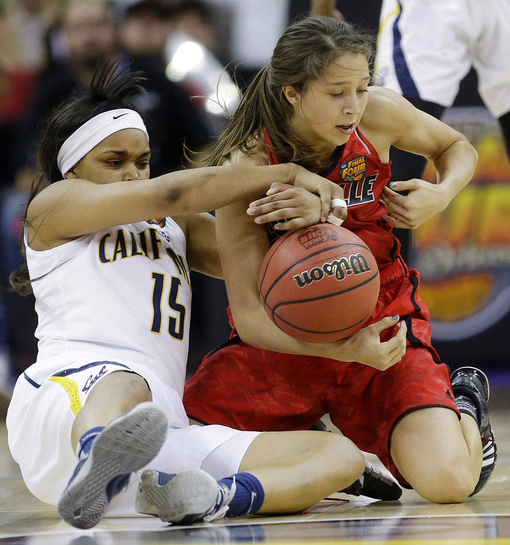 Description of . California guard Brittany Boyd (15) and Louisville guard Jude Schimmel (22) battle for a rebound in the second half of a national semifinal at the Women's Final Four of the NCAA college basketball tournament, Sunday, April 7, 2013, in New Orleans. (AP Photo/Gerald Herbert)