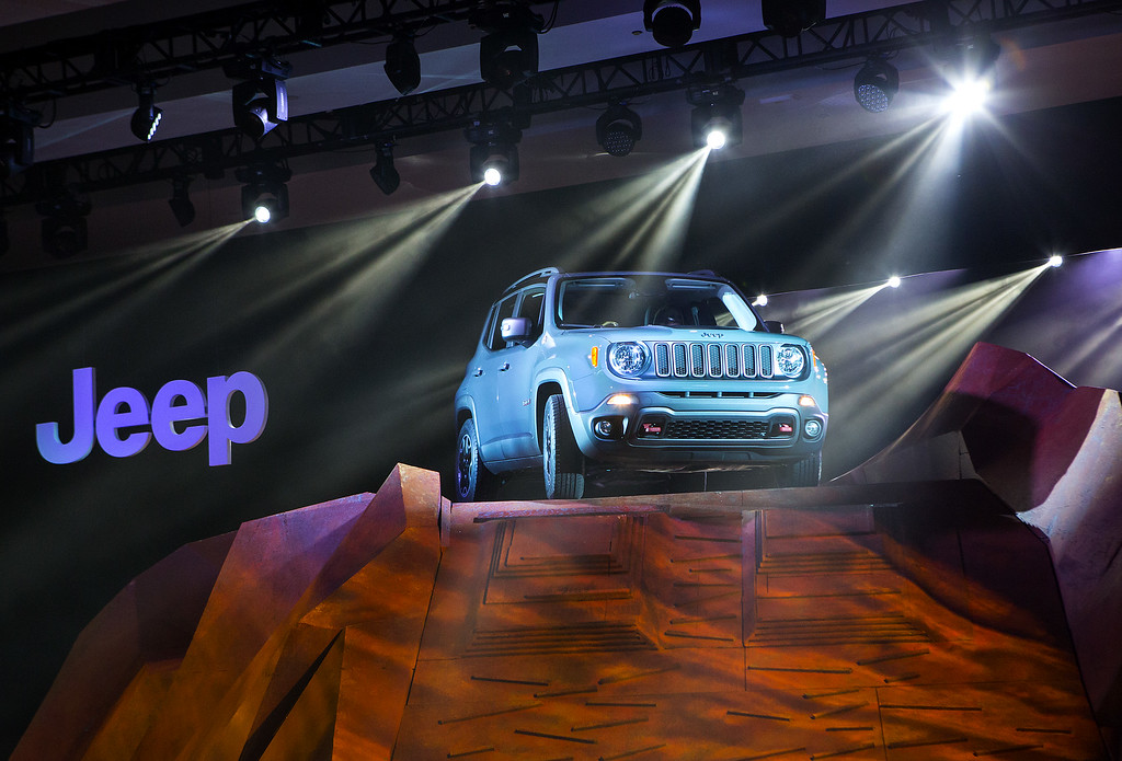 Description of . The Chrysler Group LLC Jeep Renegade Trail Hawk sport utility vehicle is unveiled during a media preview of the 2014 New York International Auto Show April 16, 2014 in New York City. The show opens with a sneak preview to the public April 18 and runs through April 27.  (Photo by Eric Thayer/Getty Images)