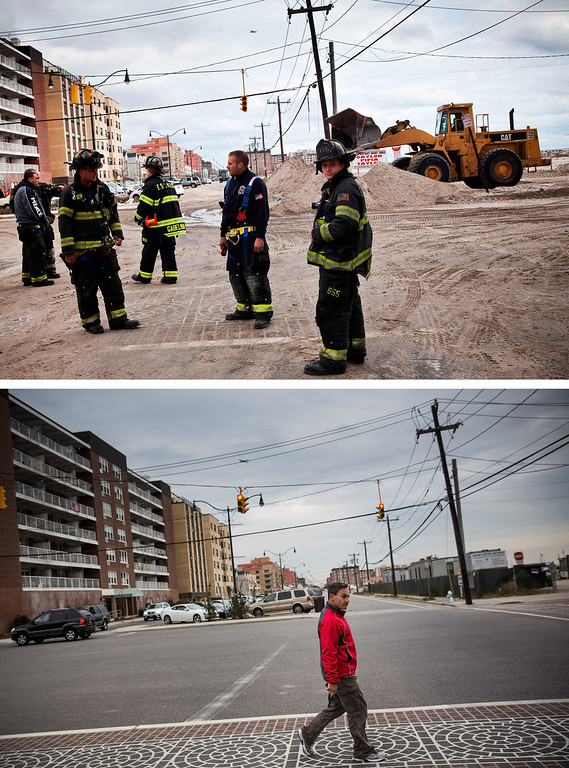 Description of . LONG BEACH, NY - OCTOBER 31:  (top) Fire fighters walk the streets of Long beach, which experienced heavy flooding and dune erosion due to Hurricane Sand October 31, 2012 in Long Beach, New York.  LONG BEACH, NY - OCTOBER 22:  (bottom)   A  man crosses the street in Long Beach, New York Octobter 22, 2013.  Hurricane Sandy made landfall on October 29, 2012 near Brigantine, New Jersey and affected 24 states from Florida to Maine and cost the country an estimated $65 billion.  (Photos by Andrew Burton/Getty Images)