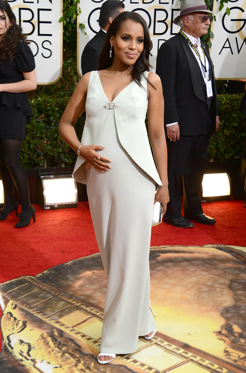 Description of . Kerry Washington arrives at the 71st annual Golden Globe Awards at the Beverly Hilton Hotel on Sunday, Jan. 12, 2014, in Beverly Hills, Calif. (Photo by Jordan Strauss/Invision/AP)