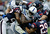 Vick Ballard #33 of the Indianapolis Colts is tackled by a group of Houston Texans at Reliant Stadium on December 16, 2012 in Houston, Texas.  (Photo by Scott Halleran/Getty Images)