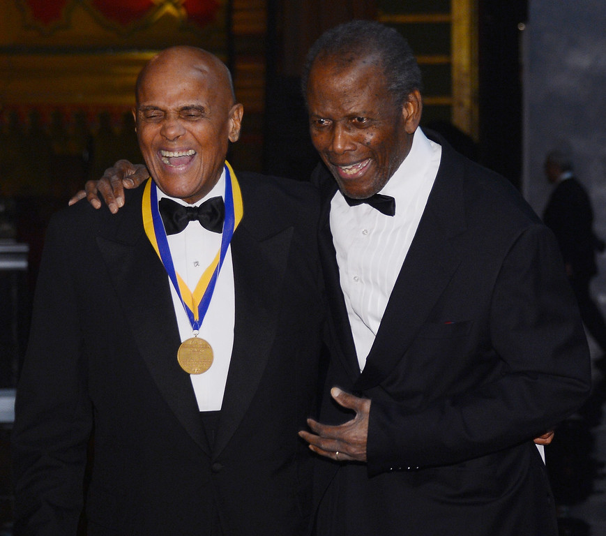 Description of . LOS ANGELES, CA - FEBRUARY 01:  Harry Belafonte, Sidney Poitier attends the 44th NAACP Image Awards at The Shrine Auditorium on February 1, 2013 in Los Angeles, California.  (Photo by Mark Davis/Getty Images for NAACP Image Awards)