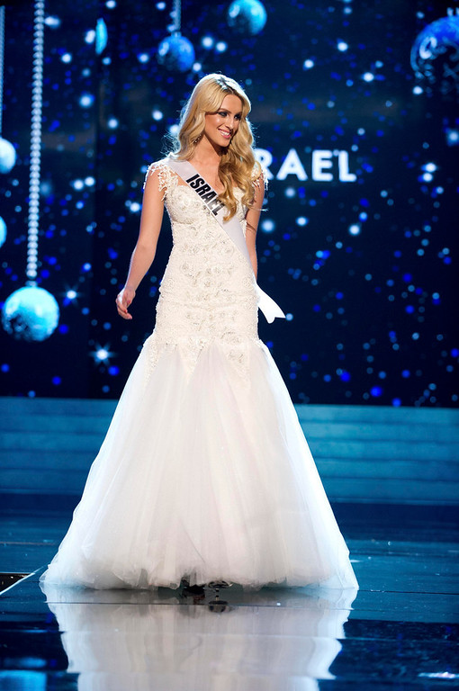 Description of . Miss Israel 2012 Lina Makhuli competes in an evening gown of her choice during the Evening Gown Competition of the 2012 Miss Universe Presentation Show in Las Vegas, Nevada, December 13, 2012. The Miss Universe 2012 pageant will be held on December 19 at the Planet Hollywood Resort and Casino in Las Vegas. REUTERS/Darren Decker/Miss Universe Organization L.P/Handout