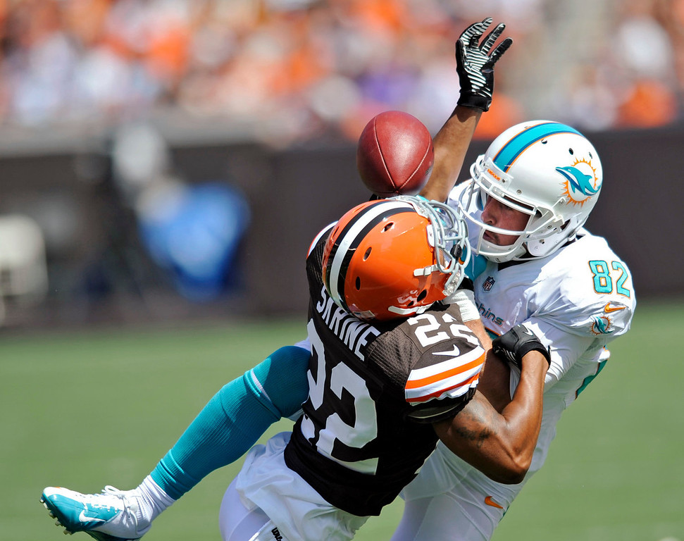 Description of . Cleveland Browns cornerback Buster Skrine (22) breaks up a pass to Miami Dolphins wide receiver Brian Hartline (82) in the first quarter of an NFL football game Sunday, Sept. 8, 2013, in Cleveland. (AP Photo/David Richard)