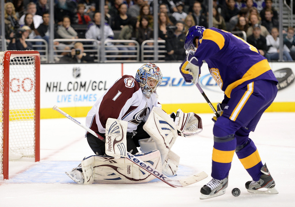 Description of . LOS ANGELES, CA - FEBRUARY 23:  Semyon Varlamov #1 of the Colorado Avalanche stops Justin Williams #14 of the Los Angeles Kings during the second period at Staples Center on February 23, 2013 in Los Angeles, California.  (Photo by Harry How/Getty Images)
