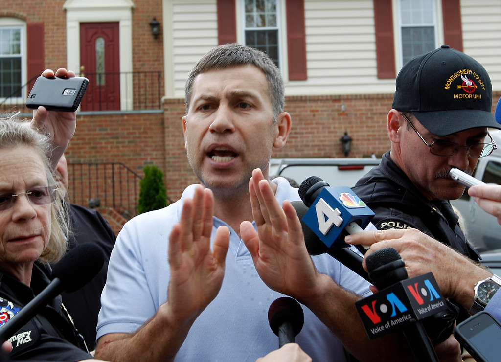 Description of . Ruslan Tsarni, uncle of the Boston Marathon bombing suspect, speaks with the media outside his home in Montgomery Village in Md. Friday, April, 19, 2013. In a passionate plea, Tsarni urged his nephew to turn himself in Friday, saying he had brought shame to the family and the entire Chechen ethnicity.  (AP Photo/Jose Luis Magana)