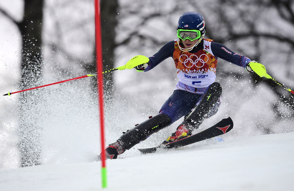 Description of . US skier Mikaela Shiffrin competes during the Women's Alpine Skiing Slalom Run 1 at the Rosa Khutor Alpine Center during the Sochi Winter Olympics on February 21, 2014.  AFP PHOTO / OLIVIER  MORIN/AFP/Getty Images