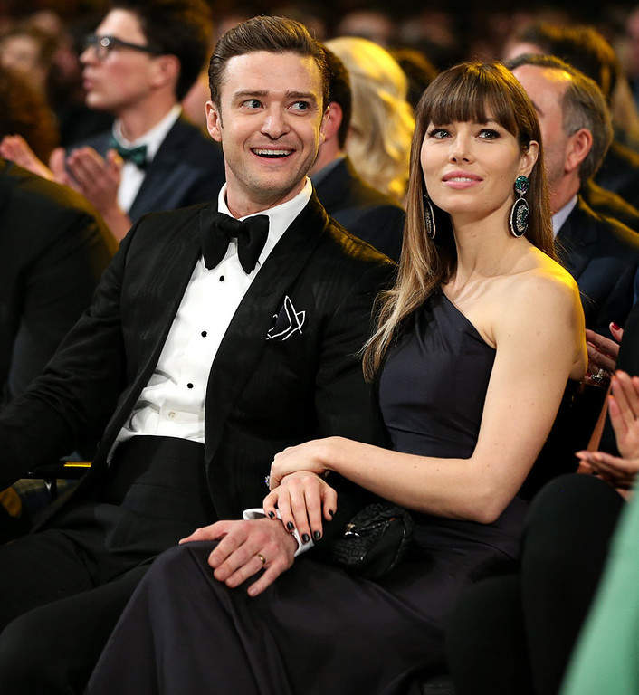 Description of . Justin Timberlake and Jessica Biel attend the 55th Annual GRAMMY Awards at STAPLES Center on February 10, 2013 in Los Angeles, California.  (Photo by Christopher Polk/Getty Images for NARAS)