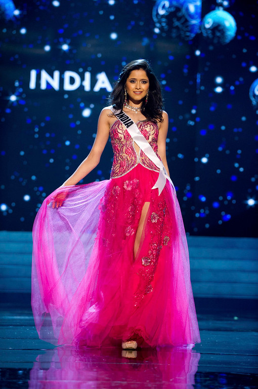 Description of . Miss India 2012 Shilpa Singh competes in an evening gown of her choice during the Evening Gown Competition of the 2012 Miss Universe Presentation Show in Las Vegas, Nevada, December 13, 2012. The Miss Universe 2012 pageant will be held on December 19 at the Planet Hollywood Resort and Casino in Las Vegas. REUTERS/Darren Decker/Miss Universe Organization L.P/Handout