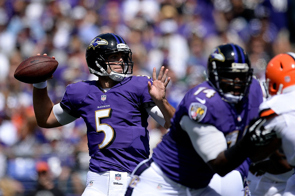 Description of . Joe Flacco #5 of the Baltimore Ravens throws a pass in the first quarter during a game against the Cleveland Browns at M&T Bank Stadium on September 15, 2013 in Baltimore, Maryland.  (Photo by Patrick McDermott/Getty Images)