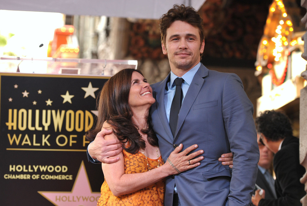 Description of . Actor James Franco, right, poses with his mother Betsy Franco at a ceremony honoring him with a star on the Hollywood Walk of Fame on Thursday, March 7, 2013 in Los Angeles. (Photo by John Shearer/Invision/AP)