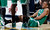 Boston Celtics guard Avery Bradley holds his leg during the fourth quarter of the Denver Nuggets' 97-90 victory in an NBA basketball game in Denver on Tuesday, Feb. 19, 2013. (AP Photo/David Zalubowski)