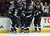 (L-R) Ryan Getzlaf #15, Francois Beauchemin #23, Corey Perry #10 and Nick Bonino #13 of the Anaheim Ducks celebrate Getzlaf's goal in the third period against the Colorado Avalanche at Honda Center on February 24, 2013 in Anaheim, California. The Ducks defeated the Avalanche 4-3 in overtime.  (Photo by Jeff Gross/Getty Images)