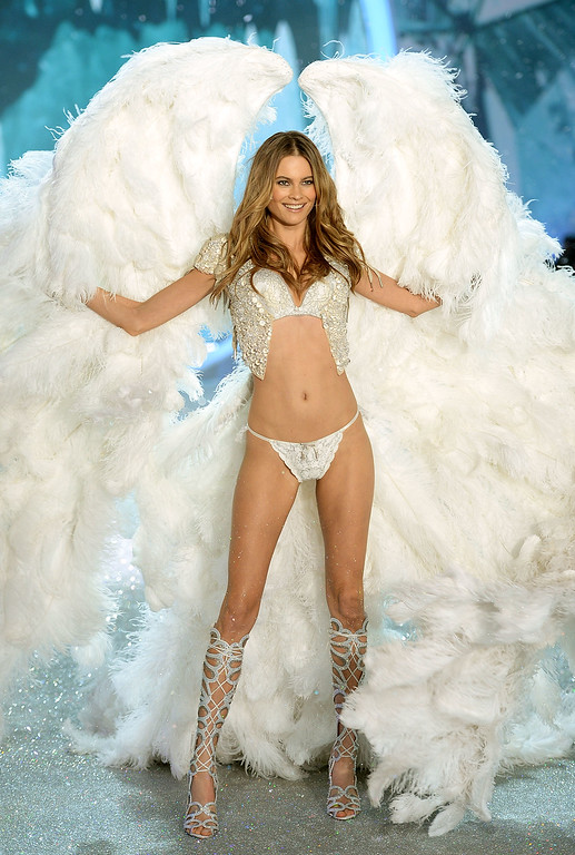 Description of . Model Behati Prinsloo walks the runway at the 2013 Victoria's Secret Fashion Show at Lexington Avenue Armory on November 13, 2013 in New York City.  (Photo by Dimitrios Kambouris/Getty Images for Victoria's Secret)