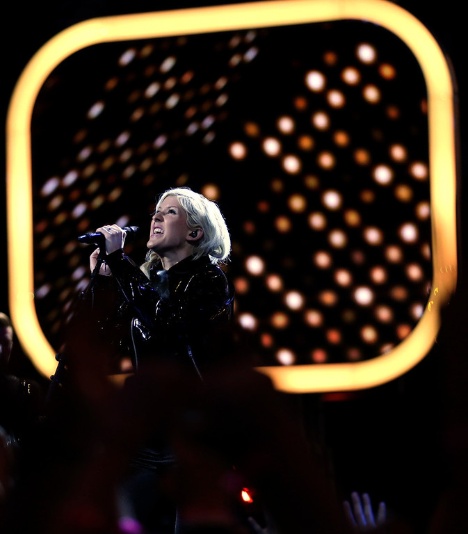 Description of . Singer Ellie Goulding performs before NBA All-Star Saturday Night basketball in Houston on Saturday, Feb. 16, 2013. (AP Photo/Eric Gay)