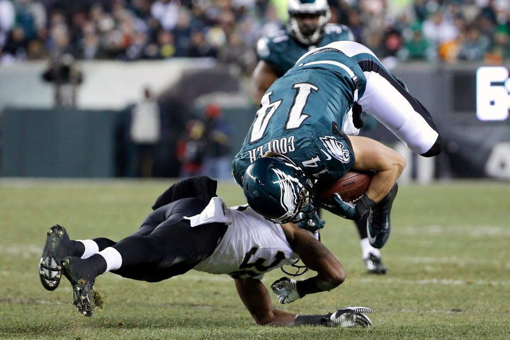 Description of . Philadelphia Eagles' Riley Cooper, right, is upended on a hit by New Orleans Saints' Rod Sweeting during the second half of an NFL wild-card playoff football game, Saturday, Jan. 4, 2014, in Philadelphia. (AP Photo/Matt Rourke)