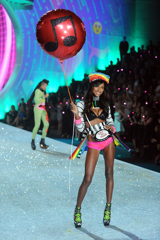 Description of . Model Jasmine Tookes walks the runway at the 2013 Victoria's Secret Fashion Show at Lexington Avenue Armory on November 13, 2013 in New York City.  (Photo by Jamie McCarthy/Getty Images)