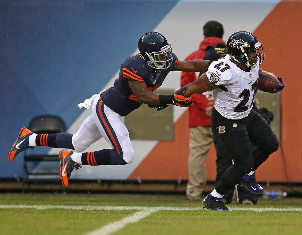 Description of . Major Wright #21 of the Chicago Bears forces Ray Rice #27 of the Baltimore Ravens out of bounds on a long gain at Soldier Field on November 17, 2013 in Chicago, Illinois. (Photo by Jonathan Daniel/Getty Images)