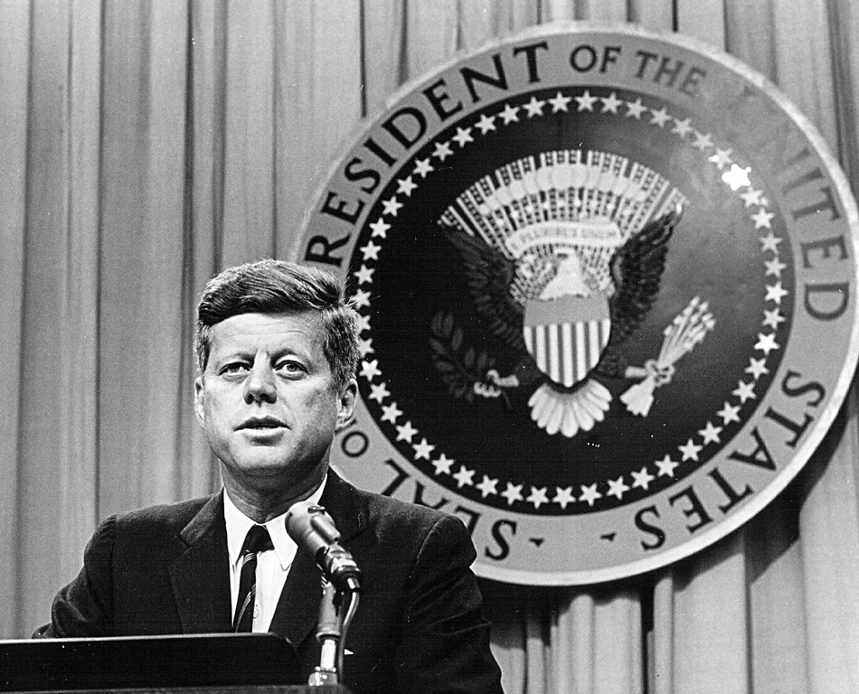 Description of . President John F. Kennedy speaks at a press conference Aug. 1, 1963. National Archive/Newsmakers