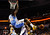 Denver Nuggets small forward Kenneth Faried (35) hands on the rim after a dunk while Charlotte Bobcats power forward Bismack Biyombo (0) works to get out from under Faried during the second half of their NBA basketball game in Charlotte, North Carolina February 23, 2013. REUTERS/Chris Keane