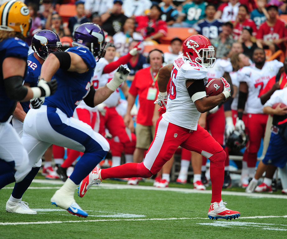 . Derrick Johnson #56 of the Kansas City Chiefs returns an interception for a touchdown against the National Football Conference team during the 2013 Pro Bowl at Aloha Stadium on January 27, 2013 in Honolulu, Hawaii  (Photo by Scott Cunningham/Getty Images)