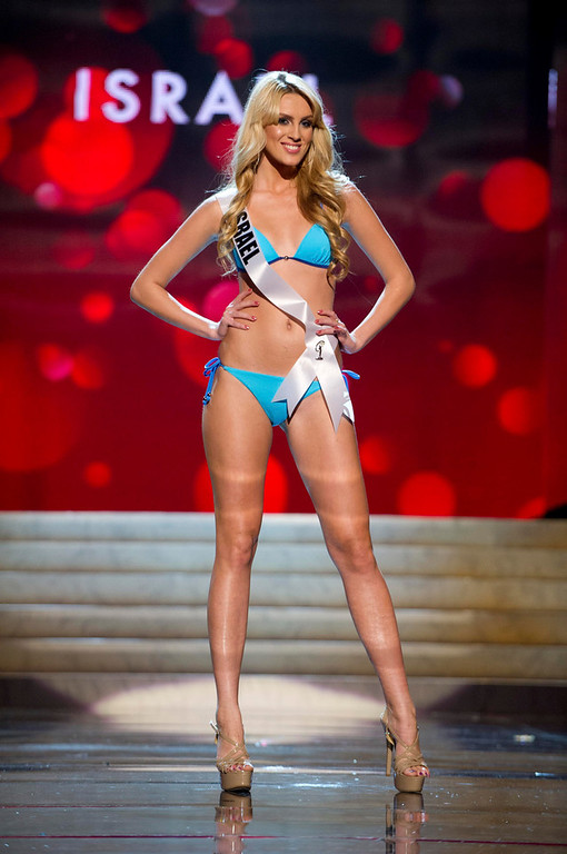 Description of . Miss Israel 2012 Lina Makhuli competes during the Swimsuit Competition of the 2012 Miss Universe Presentation Show at PH Live in Las Vegas, Nevada December 13, 2012. The Miss Universe 2012 pageant will be held on December 19 at the Planet Hollywood Resort and Casino in Las Vegas. REUTERS/Darren Decker/Miss Universe Organization L.P/Handout