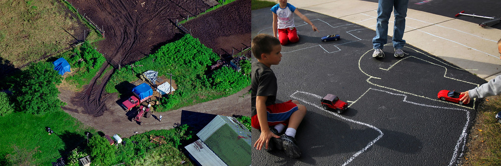 Description of . From the air, field boundaries and farm machines of a 118-acre cattle operation shrink to the size of chalk lines and children's toys on a suburban driveway. Photos by Scott Strazzante.