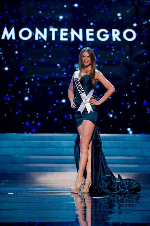 Description of . Miss Montenegro 2012 Andrea Radonjic competes in an evening gown of her choice during the Evening Gown Competition of the 2012 Miss Universe Presentation Show in Las Vegas, Nevada, December 13, 2012. The Miss Universe 2012 pageant will be held on December 19 at the Planet Hollywood Resort and Casino in Las Vegas. REUTERS/Darren Decker/Miss Universe Organization L.P/Handout