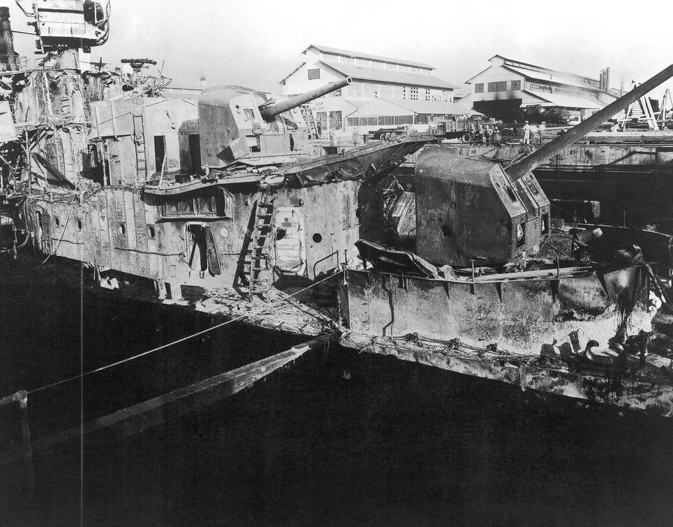 Description of . In this image provided by the U.S. Naval Historical Center, USS Downes (DD-375) in dry dock No. 1, Pearl Harbor Navy Yard, Hawaii in December 1941, where she was struck by enemy bombs during the Japanese raid on Dec. 7, 1941. (AP Photo/U.S. Naval Historical Center)