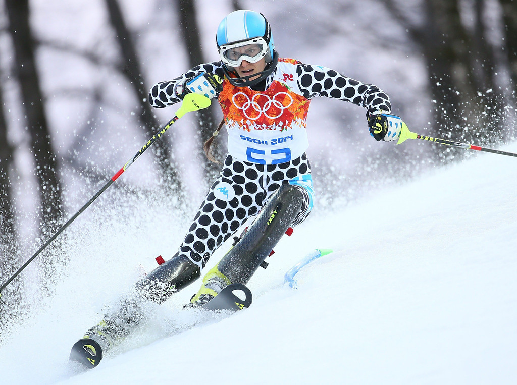 Description of . Macarena Simari Birkner of Argentina in action during the first run of the Women's Slalom race at the Rosa Khutor Alpine Center during the Sochi 2014 Olympic Games, Krasnaya Polyana, Russia, 21 February 2014.  EPA/MICHAEL KAPPELER
