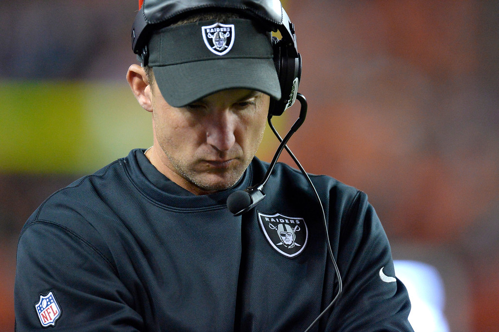 Description of . Oakland Raiders head coach Dennis Allen watches from the sidelines in the third quarter. The Denver Broncos took on the Oakland Raiders at Sports Authority Field at Mile High in Denver on September 23, 2013. (Photo by John Leyba/The Denver Post)