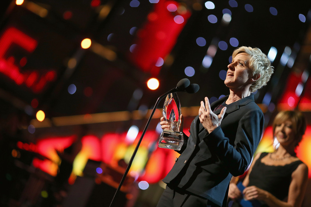 Description of . LOS ANGELES, CA - JANUARY 08:  TV personality/comedian Ellen DeGeneres accepts the Favorite Daytime TV Host award onstage at The 40th Annual People's Choice Awards at Nokia Theatre L.A. Live on January 8, 2014 in Los Angeles, California.  (Photo by Christopher Polk/Getty Images for The People's Choice Awards)