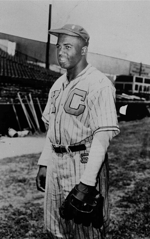 Description of . Kansas City Monarachs Jackie Robinson  poses on October 23, 1945 . The Monarchs were a Negro League club. Robinson broke the color barrier and changed baseball forever.(AP Photo)