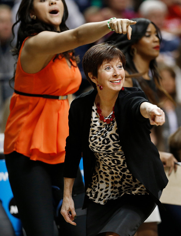 Description of . Notre Dame head coach Muffet McGraw works against Connecticut during the first half of the championship game in the Final Four of the NCAA women's college basketball tournament, Tuesday, April 8, 2014, in Nashville, Tenn. (AP Photo/Mark Humphrey)