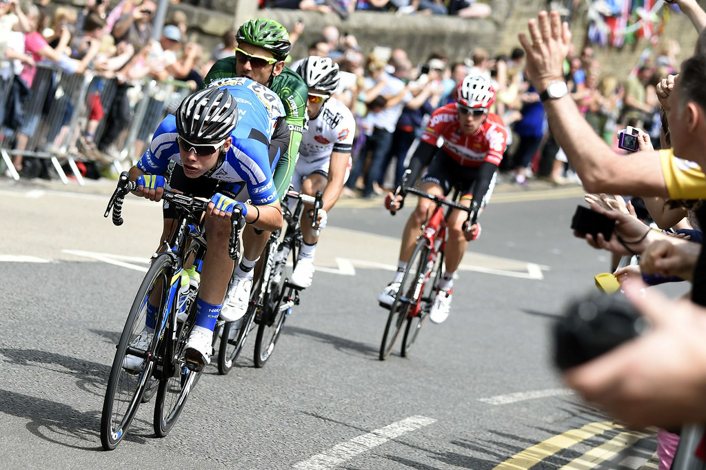 Description of . Spain's David de la Cruz Melgarejo, France's Perrig Quemeneur, France's Armindo Fonseca, and Belgium's Bart de Clercq ride in a breakaway during the 201 km second stage of the 101th edition of the Tour de France cycling race on July 6, 2014 between York and Sheffield, northern England.  AFP PHOTO / ERIC FEFERBERGERIC FEFERBERG/AFP/Getty Images