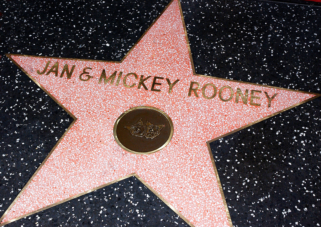 Description of . Actor Mickey Rooney and wife Jan's star on the Hollywood Walk of Fame on April 26, 2004 in Hollywood, California. (Photo by Vince Bucci/Getty Images)