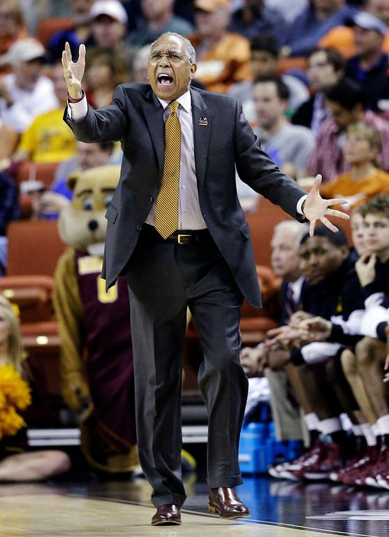 . Minnesota head coach Tubby Smith reacts to a call during the first half of a third-round game of the NCAA college basketball tournament against Florida, Sunday, March 24, 2013, in Austin, Texas. (AP Photo/David J. Phillip)