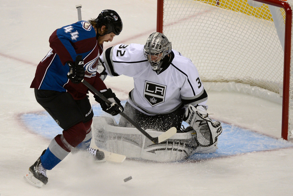 Description of . DENVER, CO. - JANUARY 22: Colorado Avalanche defenseman Ryan Wilson (44) attempts a shot on Los Angeles Kings goalie Jonathan Quick (32) during the second period. The Colorado Avalanche hosted the Los Angeles Kings at the Pepsi Center on January, 22, 2013.   (Photo By John Leyba / The Denver Post)