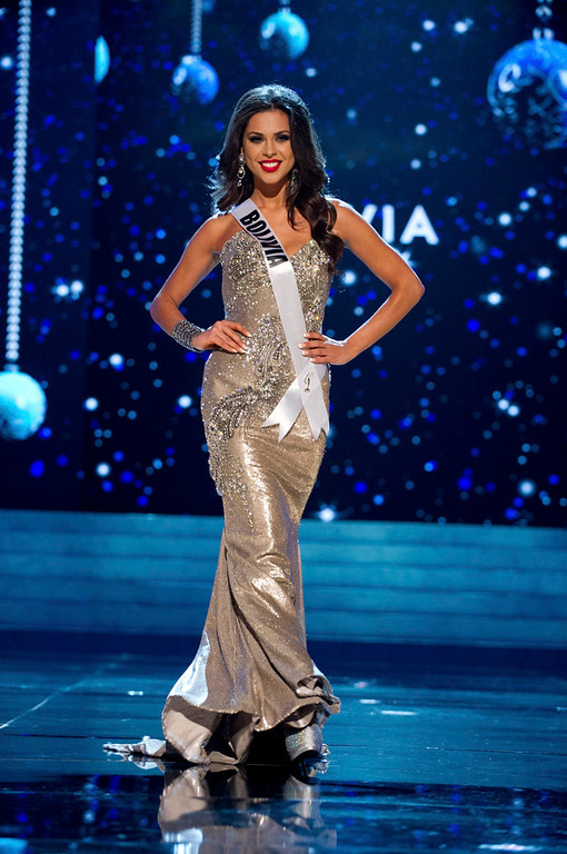 Description of . Miss Bolivia 2012 Yessica Mouton competes in an evening gown of her choice during the Evening Gown Competition of the 2012 Miss Universe Presentation Show in Las Vegas, Nevada, December 13, 2012. The Miss Universe 2012 pageant will be held on December 19 at the Planet Hollywood Resort and Casino in Las Vegas. REUTERS/Darren Decker/Miss Universe Organization L.P/Handout