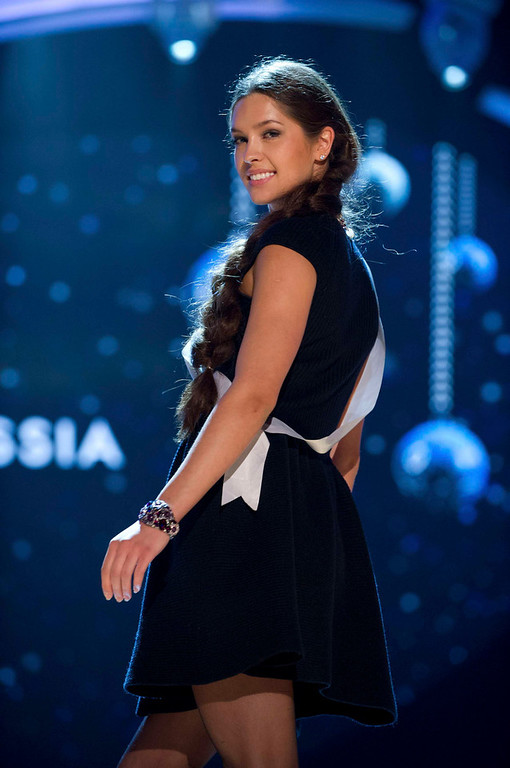Description of . Miss Russia 2012, Elizabeth Golovanova, rehearses for the 2012 Miss Universe Presentation Show in Las Vegas, Nevada, December 13, 2012.  The Miss Universe 2012 pageant will be held on December 19, 2012 at the Planet Hollywood Resort and Casino in Las Vegas. REUTERS/Darren Decker/Miss Universe Organization L.P/Handout